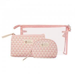 Beauty Pouch Set - Pink Geometric